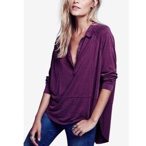 [free people] 'rose' button down hi-lo shirt